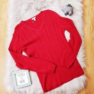 New Talbots Red Cable Knit Sweater Thick Stitched